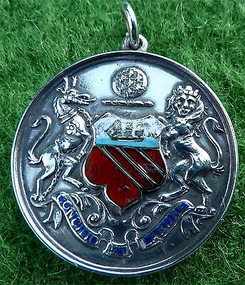 Silver & Enamel City Of Manchester Water Polo Prize Fob / Medallion Dated 1928