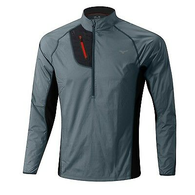 Mizuno Herren J2GC5501-06 Windjacke Laufjacke Breath Thermo Hyper Windtop Grau
