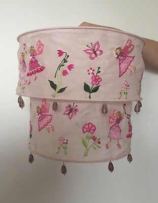 Girls Pink Embroidered Fairy Light Shade