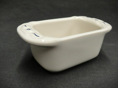 Longaberger Pottery Blue Woven Traditions Mini Loaf Pan Shaped Sweetener Holder