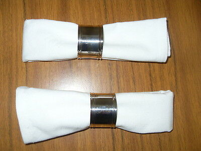pair vintage silver plate napkin rings with napkins