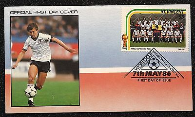 St Vincent Stamp Cover ~ World Cup ~ Mexico 86 ~ England Football Team