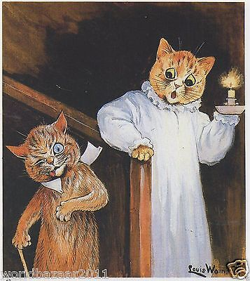 Louis Wain Cat Print Cats Midnight Stairs Drunk Nightgown Candle