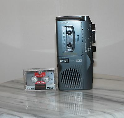 Sanyo Trc-670M Talk-Book Microcassette Recorder (Dictaphone) W/ Leather Case