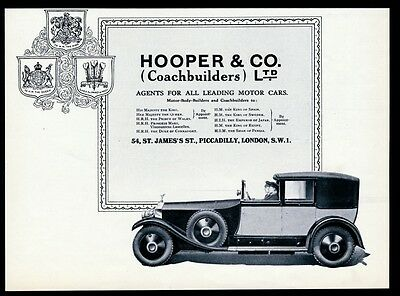 1928 Rolls-Royce chauffeured car photo Hooper vintage print ad