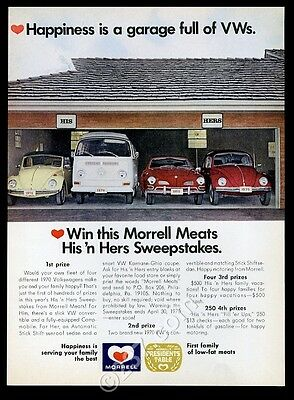 1970 VW Volkswagen Beetle convertible bus Karmann Ghia photo Morrell print ad