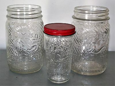 3 vintage glass embossed Jumbo peanut butter jars 5 oz & 1 lb Frank Tea & Spice