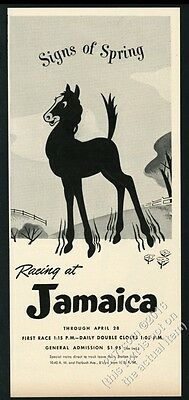 1952 Jamaica racetrack horse art Signs of Spring vintage print ad