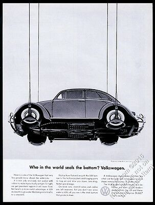 1960 VW Volkswagen Beetle classic car & underside photo vintage print ad