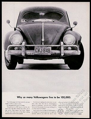 1960 VW Volkswagen Beetle classic car photo Live To Be 100000 vintage print ad