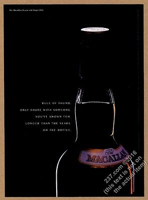 2003 The Macallan Scotch Whisky bottle photo Rule Of Thumb vintage print ad