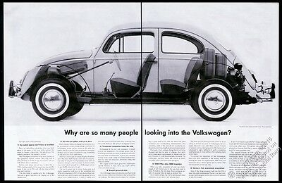 1960 VW Volkswagen Beetle classic car BIG see-through photo vintage print ad