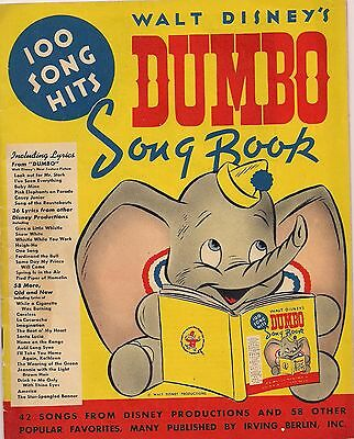 Dumbo Song Book 1941 WALT DISNEY  SONGS FROM DUMBO,SNOW WHITE,PINOCCHIO