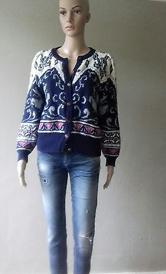 Vintage 90s Chunky Knit Cropped Cardigan S/M