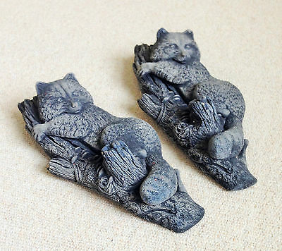 """TWO 1960's 12"""" LONG x 5"""" WIDE GREY CLIMBING RACCOON FIGURES IN BOSSONS DESIGN"""