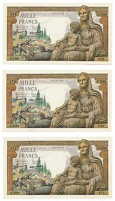 FRANCE banknote 3 x 1000 FRANCS 1943. serial in row UNC
