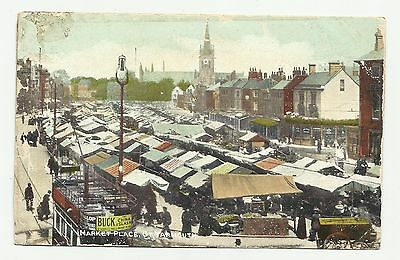 Market Place, Great Yarmouth.1909. Advertising Tram for Buck China & Glass.