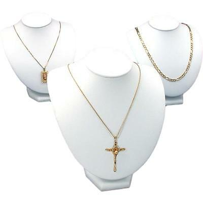 """3Pc White Faux Leather Jewelry Necklace Display Bust 8"""""""