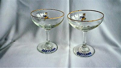 Vintage  BABYCHAM GLASSES.   2 LEAPING YELLOW FAWNS.  ROUND STEMS.  LIKE  NEW.
