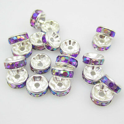 NEW Charm 100pcs Size 8MM Plated silver crystal spacer beads Purple AB colors