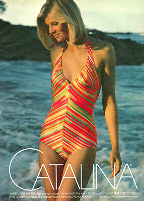 1975 vintage swimwear AD,  CATALINA Bathing Suits pretty blonde model  073014