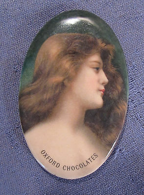 Vintage Oxford Chocolates Celluloid Advertising Pocket Mirror Boston Ma