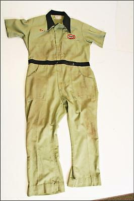 Vintage Texaco Coveralls employee service advertising gas station GREEN 60s suit