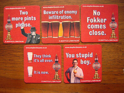 5   DIFFERENT  SPITFIRE ' BOTTLE  of  BRITAIN '   BEER  MATS / COASTERS  NEW