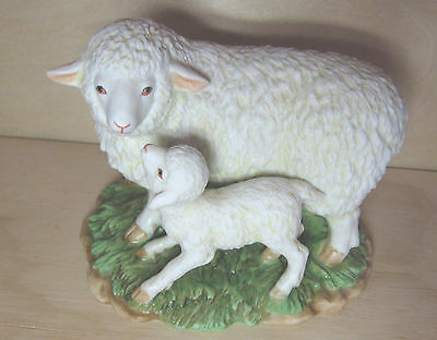 HOMCO SHEEP mother & Lamb Figurine Americana Farm animal Country style Primitive