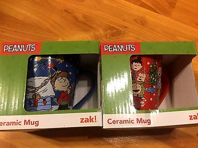 NEW LOT OF 2 Zak Peanuts A Charlie Brown Christmas Coffee Mug Cup Blue 10 oz