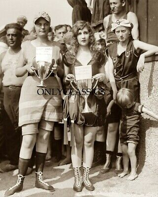1920 Vintage Bathing Beach Beauty Contest Pinup Girls Photo Cheesecake Cute Ugly