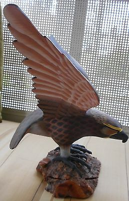"Vintage Hand Carved Wood Eagle Bird Statue on Burl - Large 16.5"" Wingspan"