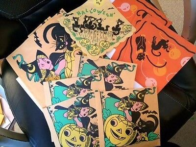 Antique Lot of  Halloween Paper Napkins and Table Cloth RARE