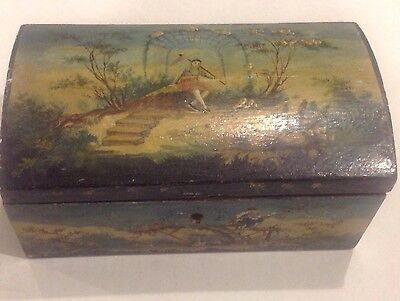 Chinese Antique Hand-Painted Beautiful  Wooden Jewelry Box Old!
