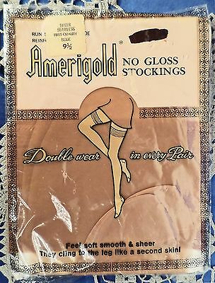 DM...Classic Traditional Seamless Nylon Stockings by Amerigold Size 9½- 1 Pair
