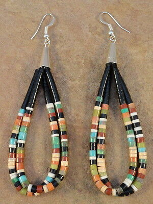 Dorene Calabaza Kewa Apple Coral Agate Shell & Turquoise Jaclas Bead Earrings