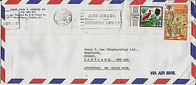 Inverted metric slogan postmark on 1979 Trinidad and Tobago envelope to Scotland