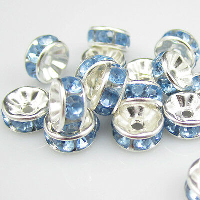 NEW for jewelry Fashion 100pcs 8MM Plated silver crystal spacer beads light Blue
