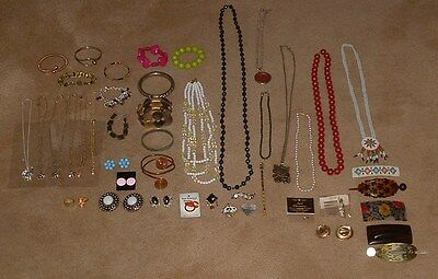46 Items of Jewelry Lot Bracelets Brooches Necklaces Earrings Watch Band etc.