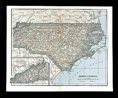 1903 Dodd Mead Map North Carolina Raleigh Durham C. Hatteras Outer Bank Roanoke