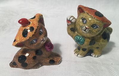 Pair Signed  Asian Cat Figurines Playing