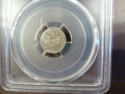 1858 Pcgs Au55 Three Cent Silver