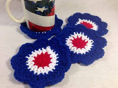 Set of 4 hand Crochet Patriotic Coasters 4th of July table Decor red white blue