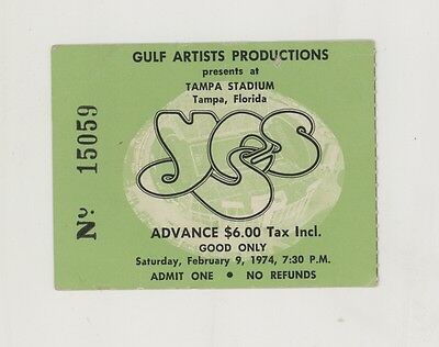 RARE Yes the band 2/9/74 Tampa Stadium Concert Ticket Stub!
