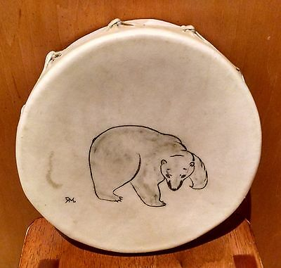 Tribal Native Stretched Skin Hide Rawhide Wood Frame Polar Bear Hand Drum 8""