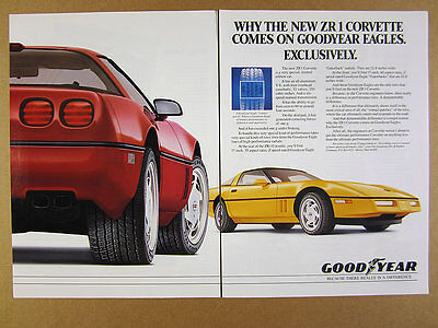 1989 Corvette ZR1 red & yellow cars photo Goodyear Eagle Tires vintage print Ad