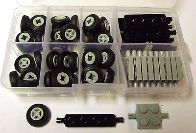 New LEGO Bulk Lot of Wheels Black Axles Tires Rims 92 Pieces.  Free Shipping