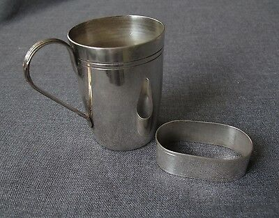 Antique Decorated Handle Silver Plated Baby Cup And Napkin Ring Marked