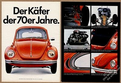 1970 VW Volkswagen Beetle orange car 7 color photo German vintage print ad