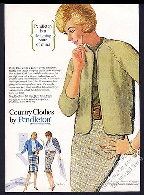 1962 Pendelton plaid skirt sweater 3 women art vintage fashion vintage print ad